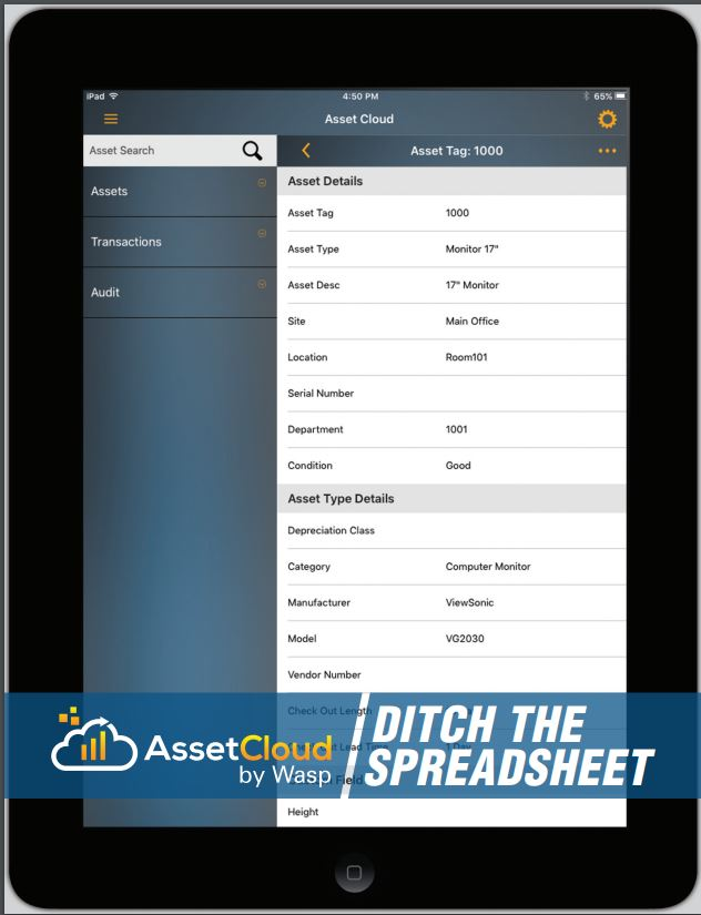 Wasp AssetCloud Software Application and Mobile App (5 Users, 1 Year Subscription)